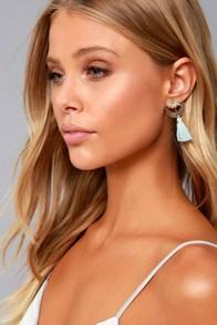 Galaxy Glow Gold and Light Blue Tassel Earrings