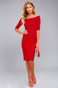 Girl Can't Help It Red Off-the-Shoulder Midi Dress