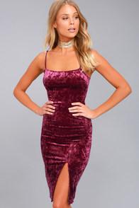 Made You Wink Plum Purple Velvet Bodycon Dress