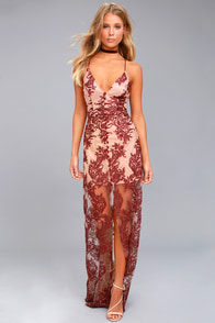 Finders Keepers Spectral Burgundy Lace Maxi Dress
