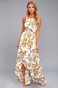 Ali & Jay Bohemian Rhapsody Cream Floral Print Maxi Dress