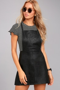 Jack by BB Dakota Robison Black Vegan Leather Pinafore Dress