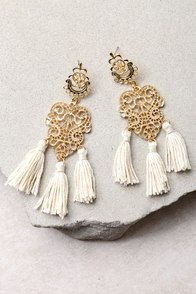 Island Dreams Gold and Ivory Tassel Earrings