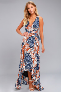 Desert Trip Rust Orange Floral Print High-Low Wrap Dress