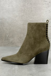 Kendall + Kylie Felix Dark Green Suede Leather Ankle Booties