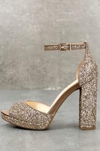 Jessica Simpson Jenee2 Lira Gold Glitter Platform Heels