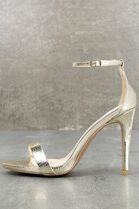 All-Star Cast Champagne Ankle Strap Heels