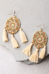 Dreamland Orange and Gold Tassel Earrings