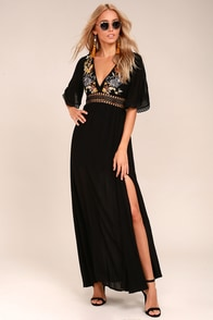 Puerto Vallarta Black Embroidered Maxi Dress