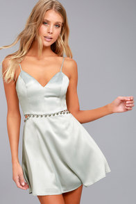 NBD Brandi Silver Satin Skater Dress