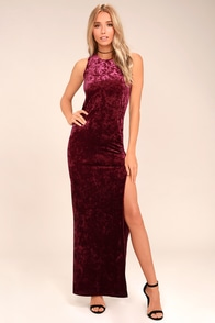Love and Memories Burgundy Velvet Maxi Dress