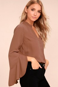 Chic Charm Brown Long Sleeve Top