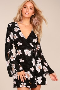 Bette Black Floral Print Long Sleeve Wrap Dress
