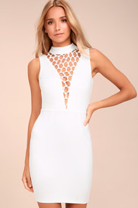 Lavish Lattice White Bodycon Dress