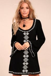 Manzanillo Black Embroidered Long Sleeve Shift Dress