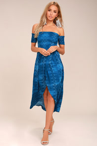 Lucy Love Tranquility Blue Print Off-the-Shoulder Dress