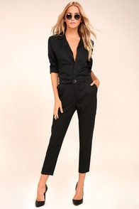 STONE ROW x Georgia May Jagger Mechanic Black Jumpsuit