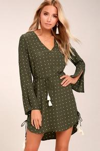 Faithfull the Brand Neroli Olive Green Print Long Sleeve Dress