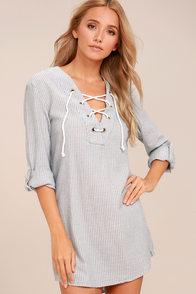 Rhythm Tiki Blue and White Striped Lace-Up Shift Dress