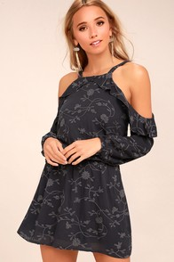 Lucy Love Makeout Slate Grey Embroidered Cold-Shoulder Dress