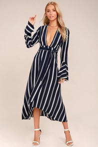 Faithfull the Brand Carioca Navy Blue Striped Wrap Dres