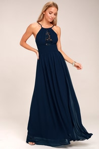 Cherish the Night Navy Blue Lace Maxi Dress