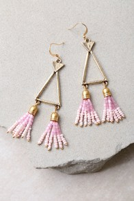 Favorite Feature Gold and Pink Beaded Tassel Earrings