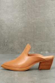 Sbicca Mulah Tan Leather Pointed Toe Mules