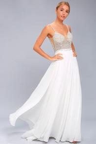 True Love White Beaded Rhinestone Maxi Dress