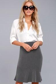 Wardrobe Wonder Grey Midi Skirt