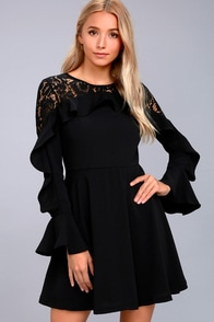 Secret Kiss Black Lace Long Sleeve Skater Dress