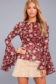 Odine Burgundy Floral Print Long Sleeve Top
