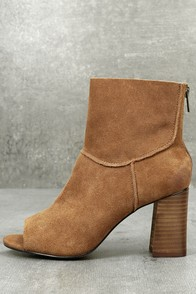 Sbicca Rozene Tan Suede Leather Peep-Toe Ankle Booties