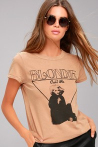 Junk Food Blondie Light Brown Distressed Tee
