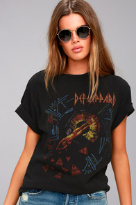Junk Food Def Leppard Hysteria Washed Black Tee