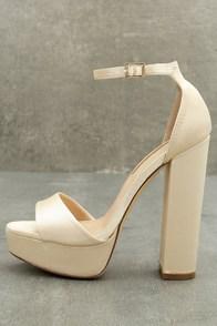 Pia Champagne Satin Platform Heels