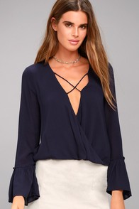 Ryland Navy Blue Long Sleeve Top