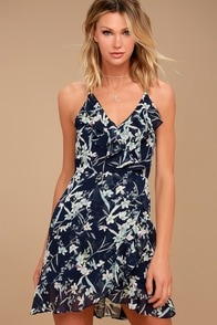 Belong to You Navy Blue Floral Print Sleeveless Dress