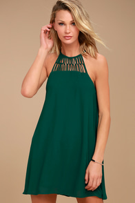 Tell Me Forest Green Swing Dress
