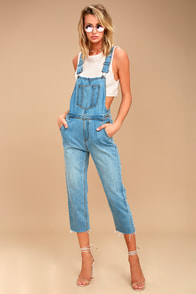 EVIDNT Henriette Medium Wash High-Waisted Overalls