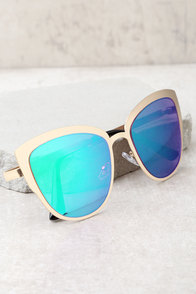 Sun Ray Gold and Green Mirrored Sunglasses
