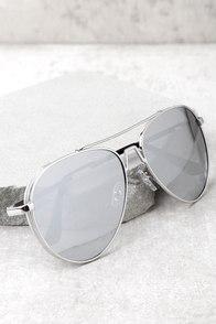 Top Sun Silver and Grey Mirrored Aviator Sunglasses