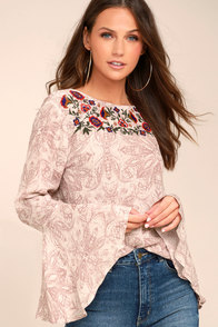 Love's Delight Mauve Print Embroidered Long Sleeve Top