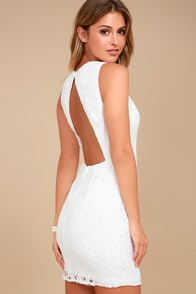 Party Pick Me Up White Lace Backless Bodycon Dress