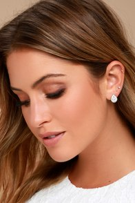Grateful for the Gleam Silver Rhinestone Earrings