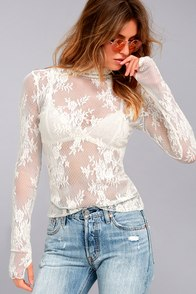 Free People Sweet Secrets White Lace Turtleneck Top at Lulus.com!