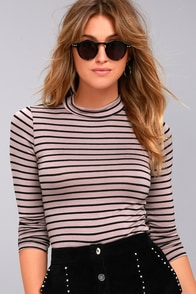 Anything is Posh-ible Mauve Striped Top