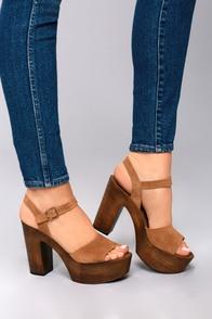 Retro Sandal History: Vintage and New Style Shoes Steve Madden Lulla Chestnut Suede Leather Platform Sandals $99.00 AT vintagedancer.com