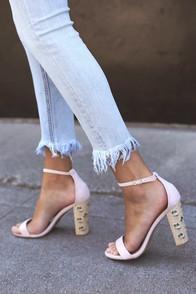 Lovely Nude Heels Woven Block Heels Embroidered Heels