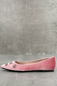 Retro Vintage Flats and Low Heel Shoes Circus by Sam Eldeman Ritchie Ash Rose Pointed Flats $60.00 AT vintagedancer.com